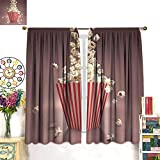 Anniutwo Modern Blackout Curtain Retro Style Popcorn Art Image Home Cafe Design Kitchenware Cardboard Vintage Cinema Blackout Draperies for Bedroom Light Red White W55 x L72 inch
