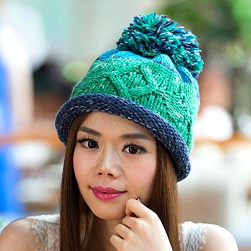 Maozi Versión Coreana de la Bola de Rizado Natural Tejido Lana Largo Sombrero del Knit, 1 2