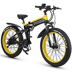 "51bgjzJiWyL. SS300 HUAKAI Bici Elettrica Pieghevole da 26"",Mountain Bike Elettrico Fat Bike Ebike 1000w 48v 13ah"