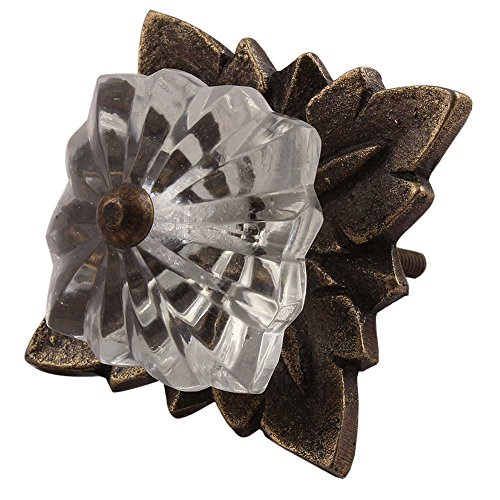 Indianshelf Handmade 12 Piece Melon Marigold Flower Decorated Dresser Knobs Rust Free Artistic Square Glass Clear Furniture Pulls ()