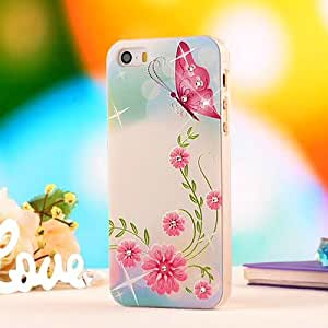 iPhone 5 Case,iPhone 5S Case,Ultra-thin TPU 3D Bling Sparkle Rhinestones Diamond Coloured Pattern Protective Hard Shell Case Cover For iPhone 5 5S 5G-Pink Butterfly