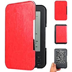 "Walnew Amazon Kindle Keyboard(kindle 3) Case Cover -- Ultra Lightweight PU Leather Smartshell Cover for Amazon kindle Keyboard(3rd Generation)Tablet with 6"" Display and Keyboard ,Red"