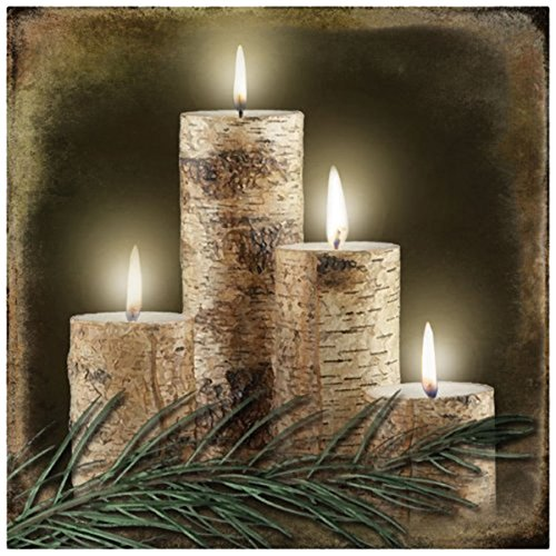 Wholesale Decorations Christmas (Ohio Wholesale Radiance Lighted Birch Candle Canvas Wall Art, from our Lodge Collection)
