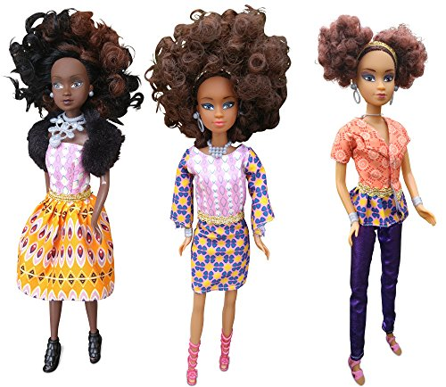 Queens of Africa Black Doll Bundle - AZEEZAH, Nneka & WURAOLA (Curly/Natural Hair)