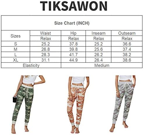 Tiksawon Womens Fashion Printed Casual Drawstring Elastic Waist Sweatpants Cotton Soft Lightweight Jogger Pants with Pockets