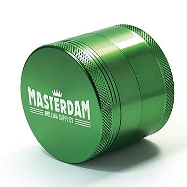 Masterdam Grinders 2.2 Inch Herb Grinder with Pollen Catcher - 4 Piece Green Aluminum