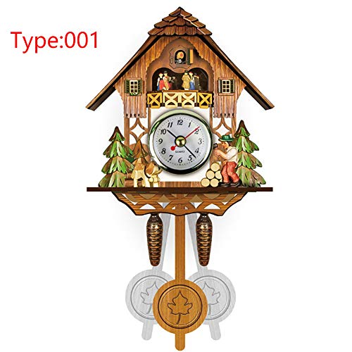 Wall Clock, Mini Fashion Artistic Cuckoo Bird Wooden Pendulum Hanging Wall Clock for Living Room Study Room Cafe Restauran and More, Home Decoration(#1)