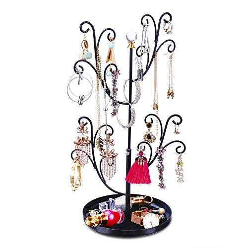 e Stand Organizer - Earring Ring Necklace Bracelet Organizer Display with Adjustable Height, Metal (Black) ()