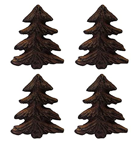 Rustic Pine Tree Metal Drawer Pulls or Bars (Set of Four Knobs) - Mountain Lodge 5 Drawer Chest