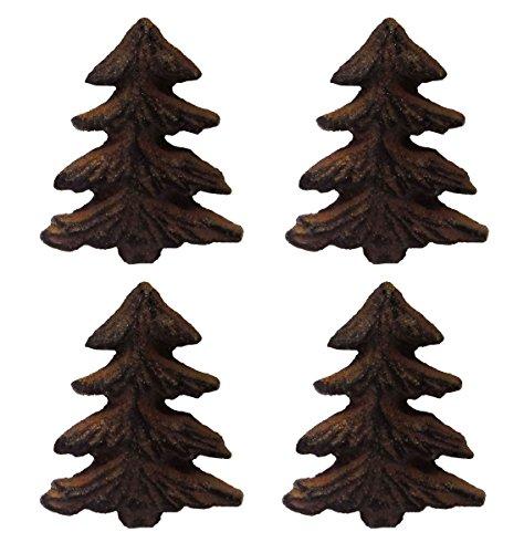 Rustic Pine Tree Metal Drawer Pulls or Bars (Set of Four Knobs) (Pine Wardrobe Armoire)