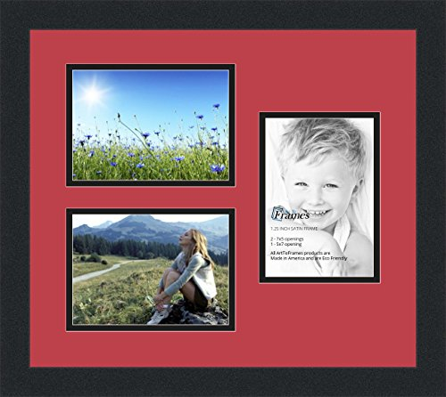 Art to Frames Double-Multimat-390-762/89-FRBW26079 Collage Photo Frame Double Mat with 3 - 5x7 Openings and Satin Black Frame