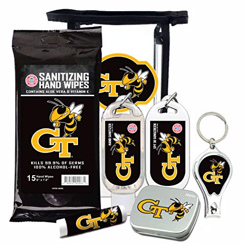 Georgia Tech Yellow Jackets 6-Piece Fan Kit with Decorative Mint Tin, Nail Clippers, Hand Sanitizer, SPF 15 Lip Balm, SPF 30 Sunscreen, Sanitizer Wipes. NCAA Gifts for Men and Women