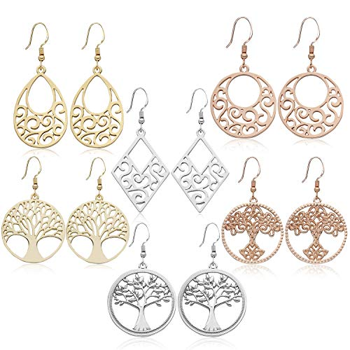 (6 Pairs Dangle Drop Earrings for Women Girls - Tree of Life Irish Celtic Knot Chandelier Filigree Teardrop Earrings Set,Classics Minimalist Design Of Sensitive Ears Fashion Earrings Gift. )