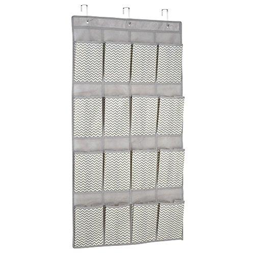 Door Storage System - InterDesign 16-Pocket Hanging Shoe Organizer – Chevron Over Door Storage System, Taupe