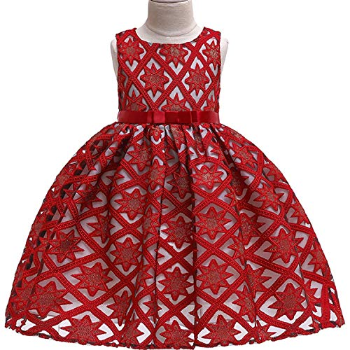 One Shoulder Printed Dress for Girls Princess Flower Wedding Pageant Party Dresses,Red,7 -