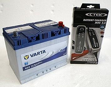 Varta E23 bateria de coche con cargador de baterias: Amazon ...