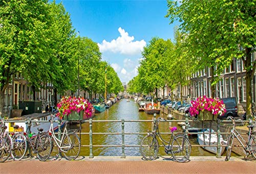 AOFOTO 6x4ft Beautiful Amsterdam Backdrop Canal Green Trees Flowers Apartment Villas Bicycles Blue Sky White Clouds Photography Background Spring Outing Vacation Travel Portrait Photo Booth Prop