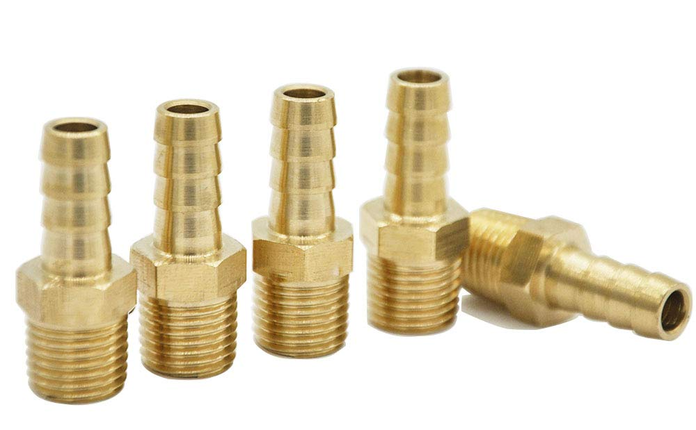 """5 piecesBrass Hose Fitting, Adapter, 5/16 Barb x1/4"""" NPT Male Pipe"""