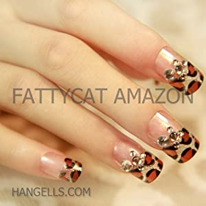 """CRYSTAL LEOPARD"" FASHION JAPANESE 3D NAIL ART 24 nails Sold By FATTYCAT"