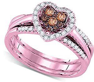 Size - 10 - Solid 14k Rose Gold Round Chocolate Brown And White Diamond Bridal Heart 3 Rings Engagement Ring with Matching Wedding Band (1/2 cttw)