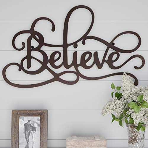 Wall Words Art - Lavish Home Metal Cutout-Believe Wall Sign-3D Word Art Home Accent Decor-Perfect for Modern Rustic or Vintage Farmhouse Style
