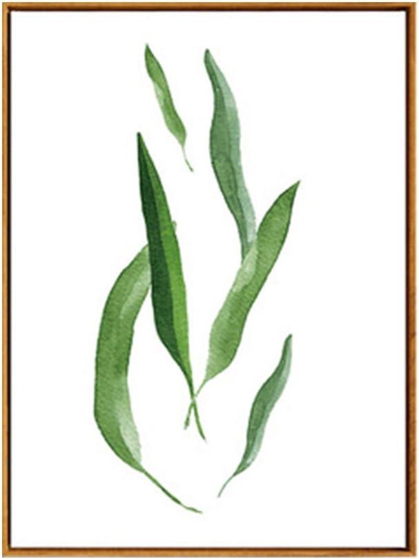 13cm x 18cm 2 Sanwoodd Peinture sur Toile Concise avec Feuilles de Plantes Vertes sans Cadre Nordique Moderne pour Bureau Chambre /à Coucher Salon Toile