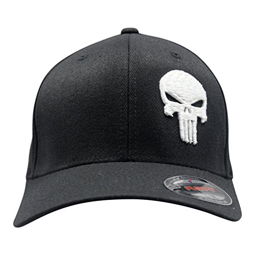 Bang Bang Apparel Men's 3D Puff 'Punishment' Embroidered Flexfit Baseball Cap (Black with Embossed White Stitching, Small/Medium)