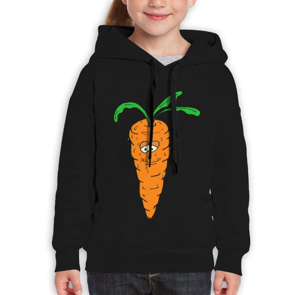 Qiop Nee Cute Sweating Carrot Childrens Hoodies Print Long Sleeve Sweatshirts for Girl's