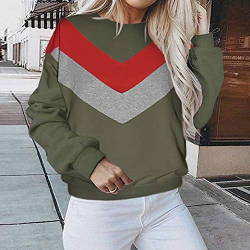 Long Crewneck Green Sweatshirt Coat Jacket Shirt Pullover Blouse Tops Hoodie Sweater Sleeve Outwear Hooded Women's Patchwork qFHpn