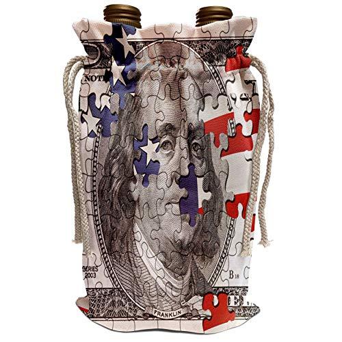 3dRose Carsten Reisinger Illustrations - Hundred dollar bill usa american money bank note puzzle flag abstract puzzled franklin benjamin - Wine Bag (wbg_155046_1) (100 Dollar Bill Puzzle)