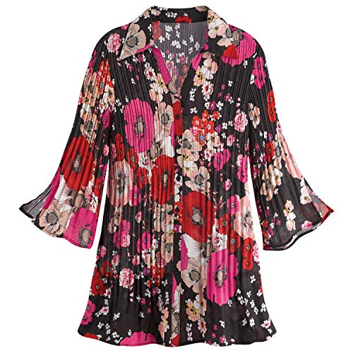 Sunny Leigh Women's Pink Poseys Accordion Pleat Button Front Tunic - Small