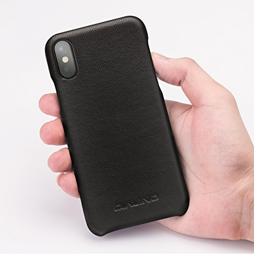 iPhone X Case, QIALINO [Slim Fiting Back Cover] Genuine Leather iPhone X Phone Bumper Case for Apple iPhone X - Black by Beiding (Image #7)