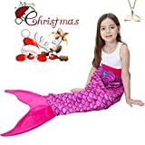 Mermaid Tail Blanket for Kids Girls Teen Plush Adult Soft Fleece Flannel Sleeping Bag Princess All Seasons Crochet Sequins Sleep Blanket Bag Best Gifts Rose (52''*21'')