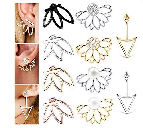 (Fashion&cool 10 Pairs Earrings, Ear Jacket Stud Lotus Flower Earrings Set for Sensitive Ears Simple Chic Jewelry, The Best Gift for Women and)