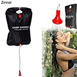 Zinnor Portable Solar Shower Bag Outdoor Camping Hiking Shower Bag Energy Heated Travel Solar Shower Bath Water Bag,Light Weight Solar Heated with Removable Hose-(20L)