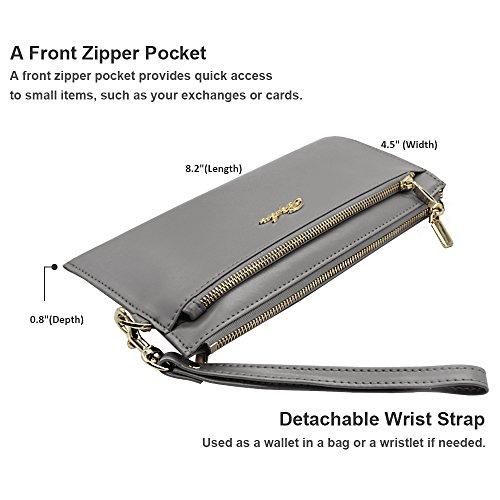 Befen mujeres suave cuero pulsera móvil embrague cartera con correa de muñeca desmontable Smartphone bolso para el iPhone 7 / 6s / 6 más, iPhone 7 / 6s / 6 / 5s-Azul Marino gris claro