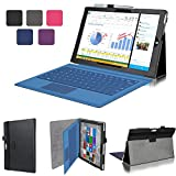 Evecase SlimBook Premium Leather Folio Stand Case Cover for Microsoft Surface Pro 3 2014 Version 12-inch Intel Core i3 / i5 / i7 Windows Tablet PC ( Black )