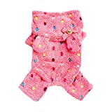 Norbi Pet Dog Soft Fleece Polka Dot Pajamas Jumpsuit Clothes