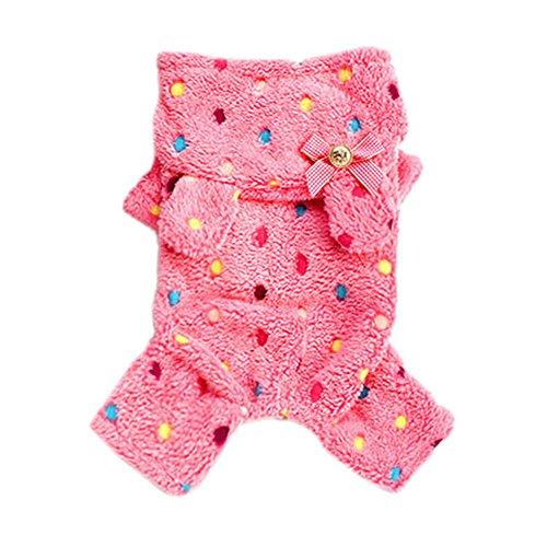 Norbi Pet Dog Soft Fleece Polka Dot Pajamas Jumpsuit Clothes