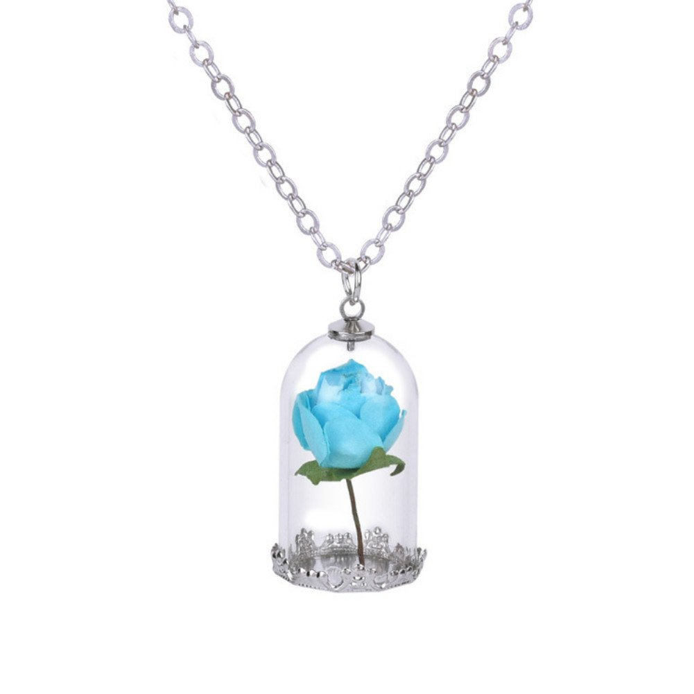 Womens Girls Beauty and the Beast Enchanted Rose Glass Necklace Jewelry Belle Cosplay SunnySidee Generic