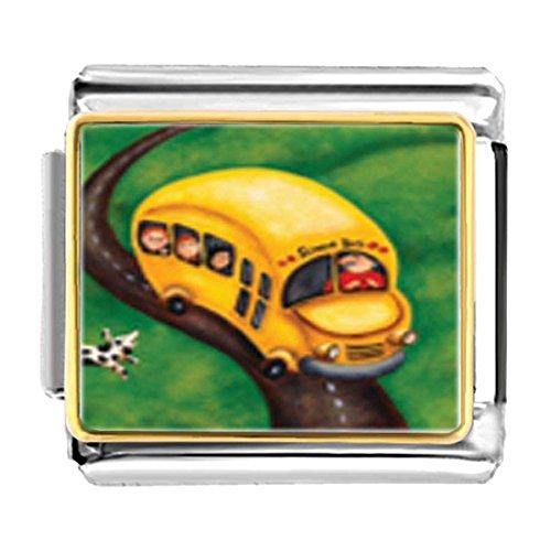 GiftJewelryShop Gold Plated Yellow School Bus Bracelet Link Photo Italian Charm
