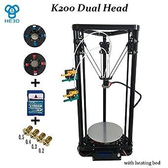 Amazon.com: he3d K200 alta precisión Dual Extruder Delta DYI ...