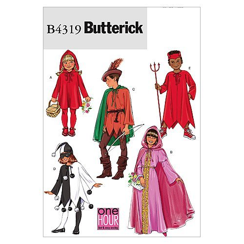 Butterick B4319 Boy's and Girl's Devil, Jester, Princess, Robin Hood, and Little Red Riding Hood Kid's Halloween Costume Sewing Patterns, -