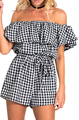 Women's Summer Loose Strapless Off Shoulder Ruffle Gingham Plaid Short Pants Jumpsuits Rompers With Belt Black L