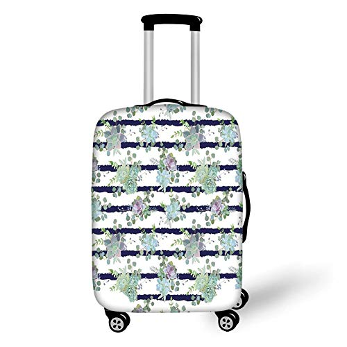 Travel Luggage Cover Suitcase Protector,Succulent,Natural Cactus Pattern in Modern Funky Style Striped Backdrop Decorative,White Almond Green Navy Blue,for TravelS 19x27.5Inch