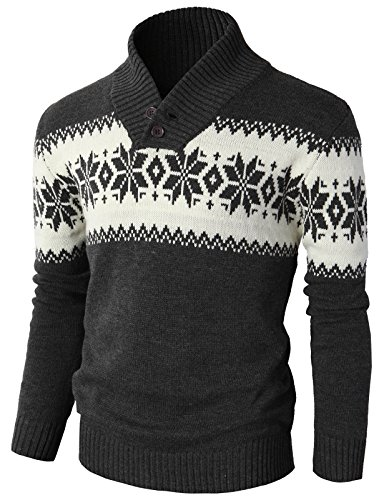 (H2H Mens Casual Slim Fit Shawl Collar Pullover Knitted Sweater Charcoal US 3XL/Asia 4XL (KMOSWL0102))