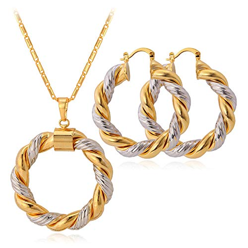 ZSML Women's Jewellery Set 18K Gold Plated White Gold Alternate Twist Hoop Earrings Pendant Necklace Two-Piece Set- Included Gift Box