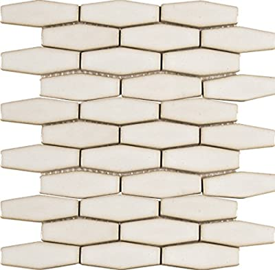 Antique White Elongated Hexagon 12 In. X 12 In. Glazed Ceramic Mesh-Mounted Mosaic Wall Tile, (10 sq. ft., 10 pieces per case)