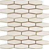 M S International Antique White Elongated Hexagon 12 In. X 12 In. Glazed Ceramic Mesh-Mounted Mosaic Wall Tile, (10 sq. ft., 10 pieces per case)