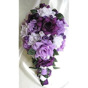 Amazon.com: 21 Pieces Package Wedding Bouquet Bridal Silk flower ...